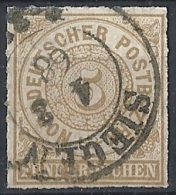 Germania Del Nord - 1868 Cifra Al Centro  2g Azzurro D. A Trattini  # Usato - Norddeutscher Postbezirk