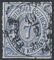 Germania Del Nord - 1868 Cifra Al Centro  7k Azzurro D. A Trattini  # Usato - Norddeutscher Postbezirk