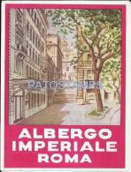 34168 ITALY ROMA LACIO HOTEL ALBERGO IMPERIALE LUGGAGE NO POSTAL POSTCARD - Hotel Labels