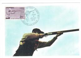 CPSM JO DE MUNICH TIR OLYMPIQUE ANDORRE ANDORRA 1972   FLAMME TIMBRE 1ER JOUR MAXIMUM - Waffenschiessen