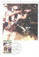 CPSM JO DE MONTREAL TIR OLYMPIQUE ANDORRE ANDORRA 1976   FLAMME TIMBRE 1ER JOUR MAXIMUM - Waffenschiessen