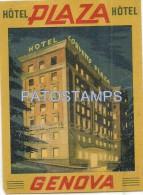 34174 ITALY GENOVA LIGURIA HOTEL PLAZA LUGGAGE NO POSTAL POSTCARD - Etiketten Van Hotels