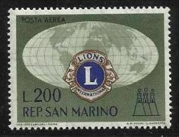 1960 San Marino Saint Marin LIONS CLUB 200 Lire Aereo MNH** Air Mail - Rotary, Lions Club