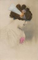 FEMMES - FRAU - LADY - Jolie Carte Fantaisie Portrait Femme Avec Ajoutis Vrais Cheveux (real Hair ) - Femmes