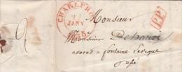 """LAC Charleroi 22.01.1835 Naar Fontaine L'Eveque Met """"PP"""". - 1830-1849 (Belgique Indépendante)"""