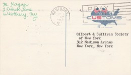 1964 USA Postal STATIONERY CARD To GILBERT & SULLIVAN Soc Re D'OYLY CARTE OPERA Co At SHERATON HOTEL Cover Theatre Music - Postal Stationery
