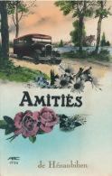 "HENANBIHEN - Jolie Carte Fleurs Et Autobus ""Amitiés De HÉNANBIHEN "" - Francia"