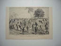 GRAVURE 1882. LE VOYAGE DE M. DE BRAZZA DANS LE CONGO. MARCHE DU VOYAGEUR SUR LE PLATEAU DES ASCEICUYAS. - Estampes & Gravures