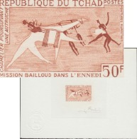 Tchad 1967 Y&T 148. Épreuve D´artiste. Mission Bailloud Dans L´Ennedi. Peinture Rupestre, Chameau, Autruche - Autruches