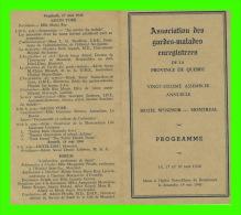 PROGRAMME - ASSOCIATION DES GARDES-MALADES DU QUÉBEC - ASSEMBLÉE ANNUELLE DE 1946 À MONTRÉAL, QUÉBEC - - Programmes