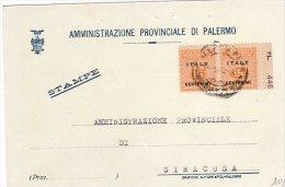 Cartolina  Affrancata Cent. 15+15 Occupazione Americana In Sicilia 1944 - - Occ. Anglo-américaine: Sicile