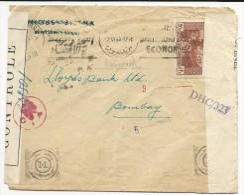 LIBAN - 1944 - ENVELOPPE De BEYROUTH Avec DOUBLE CENSURE FRANCAISE + ANGLAISE Pour BOMBAY (INDIA) - Liban