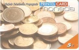 TARJETA DE ESPAÑA DE PRINTELCARD CON UNAS MONEDAS DICIEMBRE 2002 (MONEDA-COIN) - Sellos & Monedas