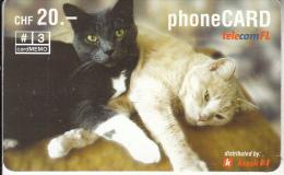 LIECHTENSTEIN - Cats, Telecom FL Prepaid Card CHF 20, Exp.date 05/06, Used - Liechtenstein