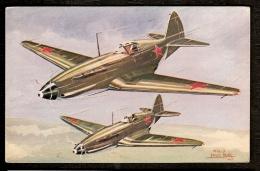 LOT 2 CPA ANCIENNES- FRANCE- AVIONS DE COMBATS ILLUSTRATIONS SIGNÉES- MIG 3- URSS ET CAUDRON SIMOUN CIVIL- 2 SCANS - Guerre 1939-45