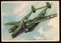 LOT 2 CPA ILLUSTRÉES SIGNÉES- FRANCE- AVIONS DE COMBATS-  LOCKEED LIGHTNING + VOUGHT CORSAIR - 2 SCANS - Guerre 1939-45