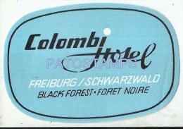 34204 SWITZERLAND FREIBURG COLOMBI HOTEL LUGGAGE NO POSTAL POSTCARD - Hotel Labels