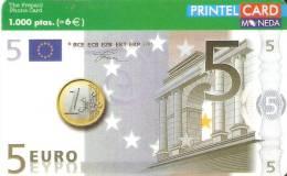 TARJETA DE UN BILLETE DE 5 EUROS Y UNA MONEDA DE 1 EURO TIRADA 15000 (NOVIEMBRE 2000) - Sellos & Monedas