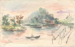JOSE PACHECO OCHOA PINTOR ESPAÑOL ACUARELA SOBRE POSTAL RECUERDO DEL PARAGUAY ENVIADA EN 1904 A HONORINA - Historical Documents
