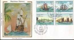 E)1984 PALAU, 19TH APU CONGRESS HAMBURG,  SHIPS, MULTIPLE STAMPS,  FDC - Palau