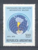 CENTENARIO DEL INSTITUTO GEOGRAFICO MILITAR 1879-1979 ARGENTINA MNH TBE GLOBO TERRAQUEO Y MAPA - Geography