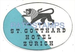 34218 SWITZERLAND ZÜRICH HOTEL ST GOTTHARD LUGGAGE NO POSTAL POSTCARD - Hotel Labels