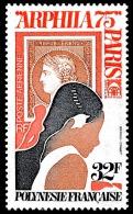 POLYNESIE 1975 - Yv. PA 92 ** TB Variété  Cote= 10,00 EUR - Expo Phil. ARPHILA75 à Paris ..Réf.POL22832 - Poste Aérienne