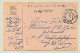 KuK Feldpostamt 207 - 1916 - On Censored Feldpost-Karte Landsturm Bataillon 165 - 1850-1918 Empire