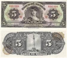 "Mexico P-60h, 5 Pesos, Famous ""La Gitana"" (the Gypsy), 1963 - Mexico"