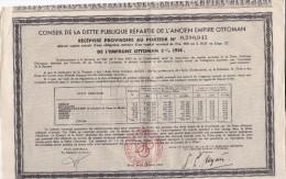 Conseil De La DETTE PÜBLIQUE Répartie De L´ Ancien EMPIRE OTTOMAN 5% 1914 .  Récépissé Provisoire Au Porteur - Banque & Assurance