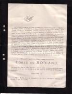 MARCHIN Alphonse Comte De ROBIANO 36 Ans En 1882 Familles PYCKE De PETEGHEM - Todesanzeige