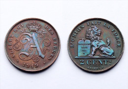 2 Centimes 1919 Belgique. Bronze. Superbe Patine. XF - 1909-1934: Albert I