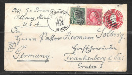 1924 2c Envelope & Stamps Albany Minn (Aug 14) To Germany - Covers & Documents