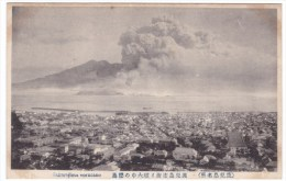 Sakurajima Volcano Eruption As Seen From Kagoshima, C1910s Vintage Postcard - Japan