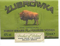 Etiquette Vodka Zubrowska. - Etiquettes