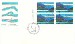 1982  Waterton Lakes National Park $1.50 Definitive  Sc 935  Inscription Block Of 4 - First Day Covers