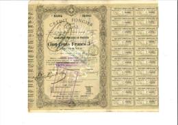 Crédit Foncier Suisse - Obligation De 500 Francs 3% - 11 Juin 1868 - Banque & Assurance