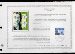"""MONACO 1975 : DAP 1er Jour Nté / Soie RARE (2500 Ex) """" ANDRE AMPERE """" N° YT 1041. Parfait état. FDC"""