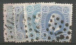 31  Obl  4 Nuances - 1869-1883 Léopold II