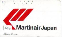 Télécarte  JAPON * MARTINAIR (2138) Phonecard JAPAN * Airplane * Flugzeug Avion * AVION * AIRLINES * - Vliegtuigen