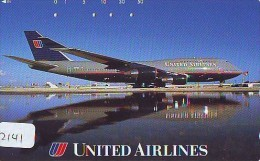 Télécarte  JAPON * UNITED AIRLINES (2141) Phonecard JAPAN * Airplane * Flugzeug Avion * AVION * AIRLINES * - Airplanes