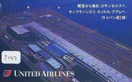 Télécarte  JAPON * UNITED AIRLINES (2142) Phonecard JAPAN * Airplane * Flugzeug Avion * AVION * AIRLINES * - Airplanes
