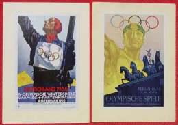 (1032834) Zwei WHW-Postkarten Mit Montierten Bildern Olympiade 1936, Siehe Bitte Beschreibung U. Bilder - Olympische Spiele