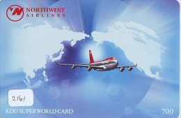 Carte Prépayée  Japon * AVION (2161) NORTHWEST AIRLINES * AIRLINES * AIRPLANE *  PREPAID CARD * JAPAN * FLUGZEUG  JR - Airplanes