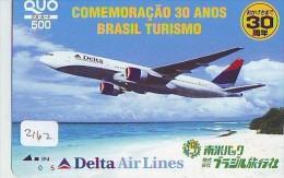 Carte Prépayée  Japon * AVION (2162) DELTA AIRLINES * BRASIL TURISMO * AIRPLANE *  PREPAID CARD * JAPAN * FLUGZEUG  JR - Airplanes