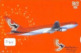 Carte Prépayée  Japon * AVION (2164) AUSTRALIAN AIRLINES * AIRLINES * AIRPLANE *  PREPAID CARD * JAPAN * FLUGZEUG  JR - Airplanes