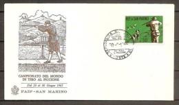 1965 San Marino Saint Marin CAMPIONATI MONDIALI DI TIRO AL PICCIONE Busta Affr. 50L Serie ´CACCIA´ Annullo 30/6/65 - Tiro (armi)