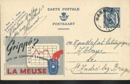 Publibel Obl. N° 548 ( Grippé ?  Vite Un Comprimé LA MEUSE) Obl: Hannut 02/02/1944 - Enteros Postales