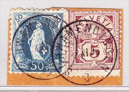 Heimat ZH SCHWAMMENDINGEN 4.11.1898 Auf 5Rp WZ Und 50Rp Stehende Briefstück - 1882-1906 Wappen, Stehende Helvetia & UPU