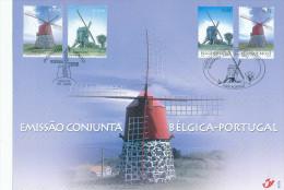 293/24 - MOULINS A VENT - Feuillet Commun Belgique / Portugal 2002 - KORTRIJK / LISBOA - Agriculture